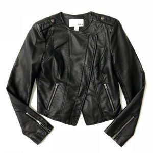 Bar III Faux Leather Moto Crop Wrap Jacket